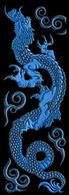 K057 Hokusai Drache Blau links